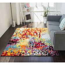 Modern Colorful Rugs Well Woven Modern Bright Paint Splash Abstract Multi Area Rug 7
