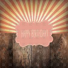 happy birthday greeting card with sun rays and vintage label