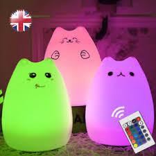 usb cat night light usb l kitten silicone cat led night light 7 color change remote