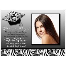 grad invitations grad cap safari zebra photo graduation invitations paperstyle