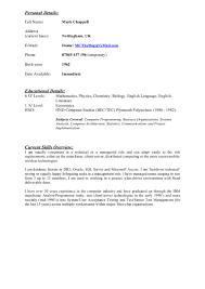 Sample Mainframe Resume by Mark Chappell Latest Cv