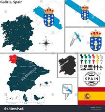 Catalonia Spain Map by Vector Map Region Galicia Coat Arms Stock Vector 248564578