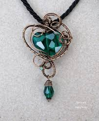 green heart pendant necklace images Emerald green heart wire wrapped pendant ooak by jpg