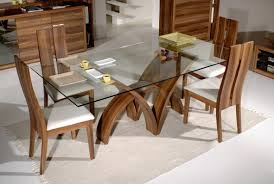 luxury squarenglass dinning table and black wood chair