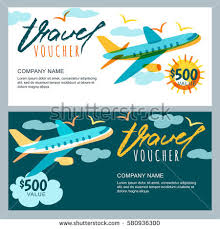 travel gift certificates vector gift travel voucher template multicolor stock vector