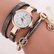 gold ladies bracelet watches images Women leather bracelet watch gold case quartz watch relojes mujer jpg