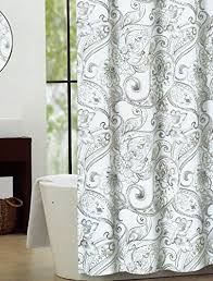 Nicole Miller Bathroom Accessories by Nicole Miller Fabric Shower Curtain Grey Taupe Paisley Medallion