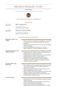 Scientific Resume Examples by Clinical Research Coordinator Resume Samples Visualcv Resume