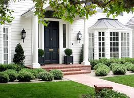 Planter S House Fall Into Landscaping Brick Porch Black Front Doors And