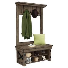 wildwood rustic entryway tree with bench gray wash altra