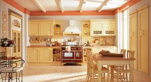 French Country Kitchen Furniture Kitchen Style Beige Cabinets Beige Hardwood Floors Wood Ceiling