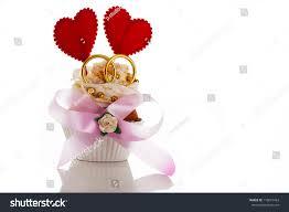 Cherry Cupcake Invitation Card Royalty Wedding Invitation Card Cupcake Two Heart Stock Photo 110615453