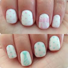 gender reveal nail art pink bow and blue tie nail art