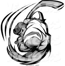 vector of a competitive cartoon hockey player swinging grayscale