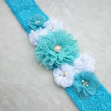 baby shower sash customized beautiful blue chiffon flower maternity sash belt