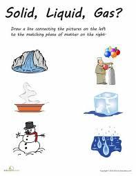 collections of solid liquid gas worksheet for kindergarten