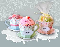 tea cup favors tea cup shabby chic gift box personalize personalise paper