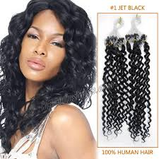 16 Inches Hair Extensions by 16 Inch 1 Jet Black Curly Micro Loop Hair Extensions 100 Strands Set