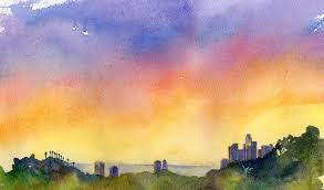 downtown la skyline watercolor painting what s