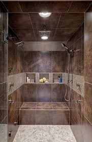 shower design with bench and pebble floors walk in shower with