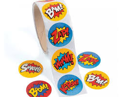 roll of 100 superhero stickers for kids crafts