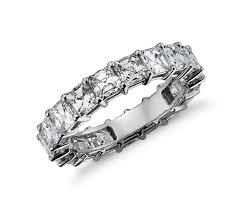 asscher cut diamond engagement rings 4 ct tw asscher cut cubic zirconia eternity band ring in 14k