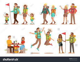 family lifestyle family travel time happy stock vector 587655602