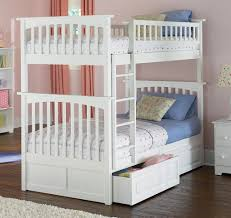 White Bunk Bed With Trundle Columbia Bunk Bed With 2 Raised Panel Bed Drawers
