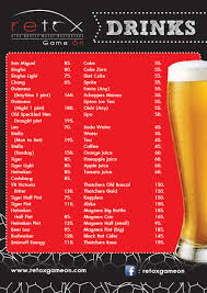 cocktail drinks menu drinks menu retox