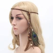 hippie hair accessories hot sale women feather hair accessories fashion peacock feather