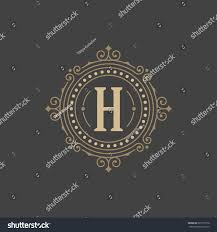 flourishes calligraphic monogram emblem template luxury stock