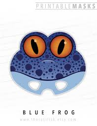 halloween mask printable mask animal mask blue frog mask