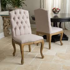 jolie tan linen weathered dining chair set set of 2 products