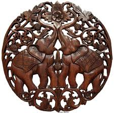 Home Decor Wall Signs by Round Carved Wood Elephant Love Sign Wall Decor Tropical Home