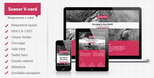 sooner v card responsive one page v card template by mutationthemes