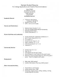 exle of resume for application exle resume for high school students college applications