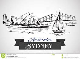 hand drawn sydney opera house and sydney harbour bridge editorial