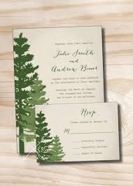wedding invitations with response cards rustic pine tree wedding invitation and response card invitation