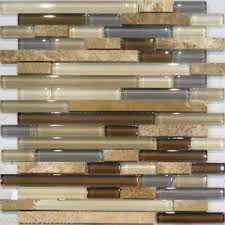 SampleMarble Stone  Brown Beige Cream Linear Glass Mosaic Tile - Stone glass mosaic tile backsplash
