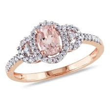 pink morganite 10k gold genuine pink morganite diamond ring