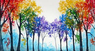 rainbow trees painting by bone