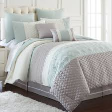Bedding Set Queen by Modern Embroidered Oversized Aqua Grey White 8 Pc Comforter Set