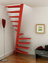 interior cool space saving spiral ladder design with red painted