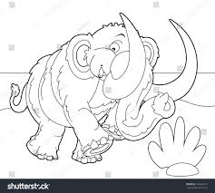 coloring page mammoth illustration children stock illustration