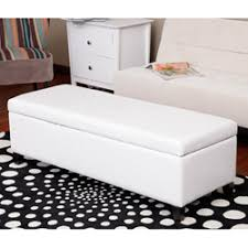 White Leather Storage Ottoman Warehouse Of Eleesha White Bicast Leather 52 Inch Storage