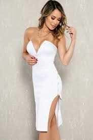 white strapless v cut mid knee length zipper accent party dress