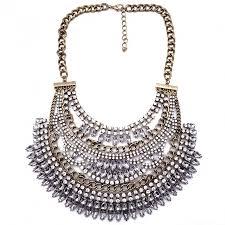 boho bib necklace images Amazon gold crystal embellished tiered art deco bib vintage boho jpg