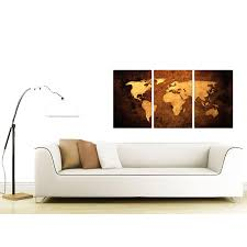 Wall Art World Map by Vintage World Map Canvas Wall Art Set Of 3 For Your Bedroom