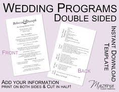 sided wedding programs wedding program diy sided printable instant