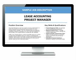 Job Desk Project Manager Lease Accounting Project Manager Sample Job Description